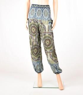 Pantalon Smock imprimé fleur gris